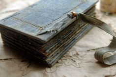 Oceanic Dreaming  Vintage Blue Linen Journal by bibliographica