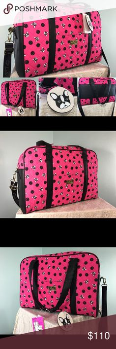 Betsey Johnson Pink Blk French Bulldog Travel Bag Ready for your next traveling adventure? Here's this adorably cute weekender travel / overnight / travel bag. It's a pretty pink color, with black polka dots, and mini French bulldogs. It's light because it's made of a quilt fabric. New with tags. Measures approximately: length x width x depth Betsey Johnson Bags Travel Bags
