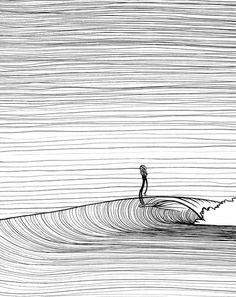 illustrations, t-shirts, prints & fun stuff Innerlight-Surf-illustration More Longboard Surf, Meer Illustration, Surf Drawing, Ocean Drawing, Surfboard Art, Skateboard Art, Surf Art, Sports Art, Surfs Up