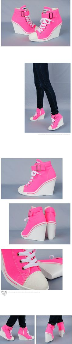 Women Canvas Wedge High Heels Sneakers Tennis Shoes Boots Neon Pink US5.5~7.5 | eBay. I need them!!!!!!!!!!!!!!!!!!!!!!!!