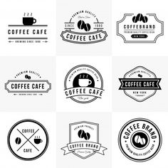 Vintage coffee logo collection Premium V. Coffee Shop Branding, Coffee Shop Logo, Cafe Branding, Cafe Logo, Coffee Cafe, Coffee Bean Logo, Coffee Pods, Starbucks Coffee, Café Vintage