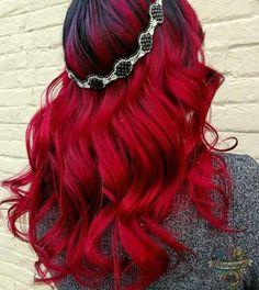 Vibrant red hair color dye my hair, red hair dyes, dyed hair ombre, c Hair Dye Colors, Red Hair Color, Dye My Hair, New Hair, Vibrant Red Hair, Colorful Hair, Pulp Riot Hair, Rainbow Hair, Grunge Hair