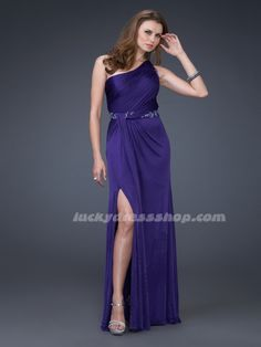 Purple One Shoulder Long/Floor-length Chiffon Evening Dresses With Sleeveless (MF3FB6)