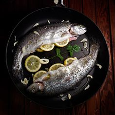 Lemon Garlic Stuffed Brook Trout Recipe (Pan Fried To Crispy Perfection) And Mother's Day Brunch Ideas Trout Recipes, Seafood Recipes, Cooking Recipes, Pan Fried Trout, Cooking Trout, Wild Game Recipes, How To Cook Fish, Mothers Day Brunch, Fish Dishes