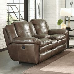Catnapper Aria Leather Power Lay Flat Reclining Console Loveseat in Smoke
