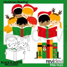 Christmas Reading Clip Art set featuring multiracial kids, boys and girls with santa hat, together reading a book. Great for ELA literacy, library, and book club theme projects! This clipart collection will be fun for Christmas activities and centers.