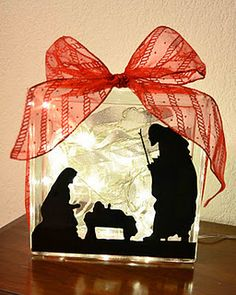 Beautiful glass block nativity scene