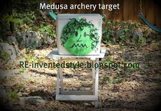 Making a Medusa archery target for a Percy Jackson and Olympians Camp Half-Blood kids birthday party and other party ideas
