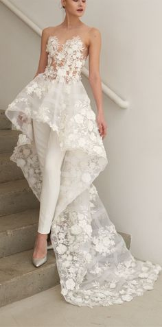 8e1eb240e08 2018 Fall Two Piece Illusion Round Neck High-Low Wedding Jumpsuit with  Appliques