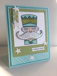 Stampin' Up! Santa Stache Nutty or Nice. Pool Party, Pear Pizzazz & Bermuda Bay Cardstock.
