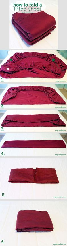 How to Fold a Fitted Sheet the Easy Way - angsays.wordpress.com - this really works - it's how I've been folding my fitted sheets for years - then I put it with the flat sheet and a pillow case and put the whole thing in another pillow case. Easy to store on a linen shelf.