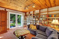 Wood Ceiling with Built in Bookshelves...DIY