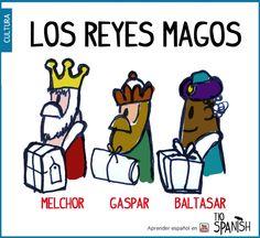 6 de enero, los reyes magos traen regalos. Melchor, Gaspar y Baltasar.