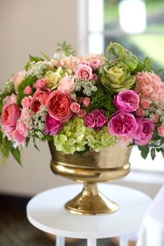 Floral arrangement from a Pretty in Pink Bat Mitzvah Birthday Party on Kara's Party Ideas | KarasPartyIdeas.com (10)