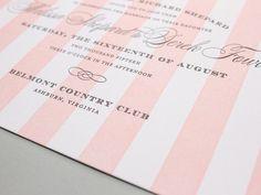 Letterpress Wedding Invitation, striped letterpress invites