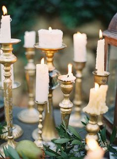 Vintage Gold Candlesticks | Kurt Boomer Photography | Raw and Refined Elegant Winter Wedding in Slate and Stone