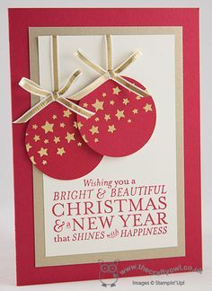 The Crafty Owl's Blog | Sparkling Red and Gold Star Bauble Christmas Card - Stampin Up Bright & Beautiful Stamp Set and Star Confetti Punch