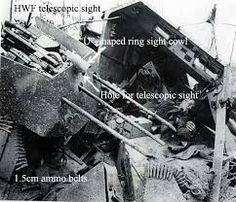 "A destroyed SdKfz. 251/21 ""Drilling"" sits mangled with it's triple gun arrangement still visible"