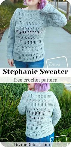 Learn to make a fun and easy early Fall pullover, the Stephanie Sweater, from a free crochet pattern on DivineDebris.com Crochet Tutorials, Crochet Patterns For Beginners, Knitting Patterns, Crochet Sweaters, Crochet Clothes, Crochet Hats, Cute Crochet, Easy Crochet, Early Fall