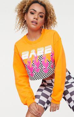 87e3abf514be7 Babe Slogan Orange Motocross Cropped Sweater