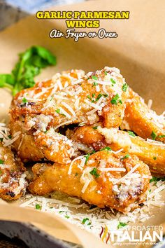 Garlic Parmesan Wings (Air Fryer or Oven) Air Fyer Recipes, Air Fryer Recipes Easy, Meal Recipes, Garlic Parmesan Wings, Garlic Wings, Chicken Recipes At Home, Fried Chicken Recipes, The Slow Roasted Italian, No Cook Appetizers