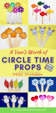This collection of toddler and preschool circle time props includes activities for the entire year! #circletime #classroom #toddlers #preschool #printables #props #music #teachers #teaching2and3yearolds Circle Time Activities, Animal Activities, Toddler Circle Time, Five Little Pumpkins, Time Planner, Bitsy Spider, Wheels On The Bus, Preschool Printables, Preschool Ideas