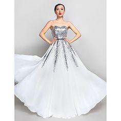 uma linha querida chiffon até o chão e lantejoulas vestido de noite / baile de finalistas (890.072) – BRL R$ 270,19