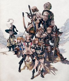 Concept art of Character Races from Final Fantasy XIV: A Realm Reborn by Akihiko Yoshida