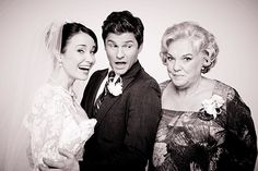 """The mother of the bride posing with her daughter and new son-in-law.   David Burtka And The Cast Of """"It Shoulda Been You"""" Take Cute Wedding GIFs"""