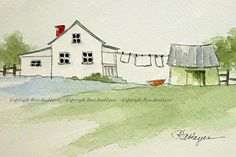 This is my original watercolor painting of laundry day in the country. White sheets hanging on the clothesline. My favorite theme. The painting size is 3 ½ x 5 inches, and it comes matted in a bevel-cut 8 x 10 inch mat which will fit easily into any standard 8x10 frame. It could also be rematted to fit into any larger frame. The painting and mat will be wrapped in clear mylar with an acid-free foamboard backing piece, so it will be ready to pop into any ready-made frame. I package my…