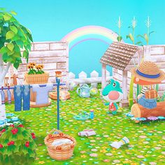 rainy season with Lily! Animal Crossing Pc, Animal Crossing Villagers, Animal Crossing Pocket Camp, Die Wallpaper, Overlays, Garden Animals, Rainbow Aesthetic, Home Icon, Wall Collage
