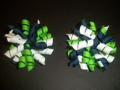 Seattle Seahawks inspired mini korker pair by CatyRoseBows on Etsy, $4.00
