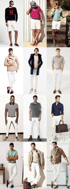 Mens White Trousers and Shorts Lookbook