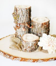 Rustic Wooden log Tea Light Candle Set of 3 | Centerpieces | Wedding Products | Roxy Heart Vintage Boutique