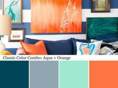Aqua Color Palette Aqua Color Schemes is part of painting Palette Aqua - When paired with classic navy, blueishgray and orange, aqua takes on a bold look that feels totally unexpected Learn how to decorate with aqua at HGTV com Aqua Color Schemes, Aqua Color Palette, Orange Color Palettes, Bedroom Color Schemes, Chartreuse Color, Playroom Color Scheme, Orange Palette, Bedroom Colors, Living Room Orange