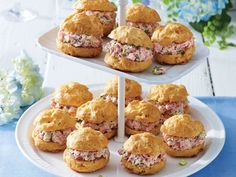 Cheese Puffs with Ham Salad Recipe | If you love to entertain, this is a great recipe to know by heart. Not only are these crisp little cheese puffs easy to freeze and bake off at a moment's notice, no one can turn them down. These light and airy puffs are delicious on their own and even better filled with tangy Ham Salad.
