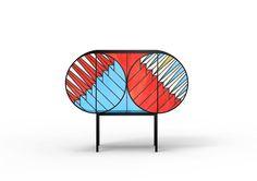 colección de armarios, alfombra y una mesa para Credenza por Patricia Urquiola