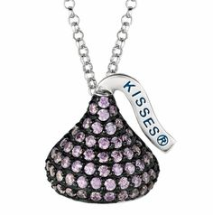 Amethyst February Birthstone Hershey Kiss Necklace in Sterling Silver