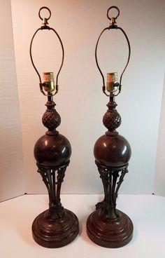Vtg Hollywood Regency Metal Enamel Lamp Light Trophy Urn Pineapple Pair Brown #HollywoodRegency