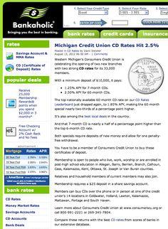 Michigan Credit Union CD Rates Hit 2.5% APY | Bankaholic | 8/13/12