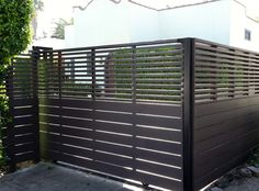 "14. Sliding Driveway Gate - Modern Design - 6 ft tall - Top 30"" is 50% visibility"