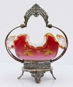 Victorian Gilt Peachblow Bride's Basket.