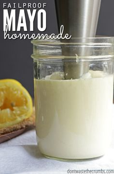 Super simple and delicious recipe for homemade mayo, plus tips for making it fail proof every single time! You only need 4 ingredients, and there's suggestions for flavored mayo too! Perfect recipe for novice cooks & it tastes SO much better than store-bought! :: DontWastetheCrumbs.com