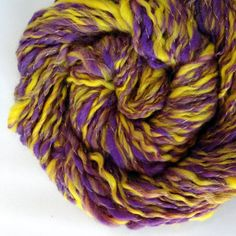 Handspun Yarn Purple Yellow LSU Lakers 125 Yards by TheTwistedPurl, $32.00