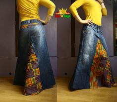 MAXI Kente skirt, Denim Long Skirt with African Prints (Cotton Wax Fabric)  Size S , by Hat a Faya