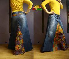 MAXI Kente skirt, Denim Long Skirt with African Prints (Cotton Wax Fabric) Size S , by Hat a Faya - Rock African Attire, African Wear, African Dress, Blue Jeans, Blue Denim, Denim Fashion, Fashion Outfits, African Print Fashion, African Prints