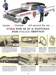 1958 Features Ford Police Cars Amp Emergency Vehicle Ad See Old Police Cars, Ford Police, State Police, Police Patrol, Ford Motor Company, Models Men, Mini Car, Emergency Vehicles, Police Vehicles