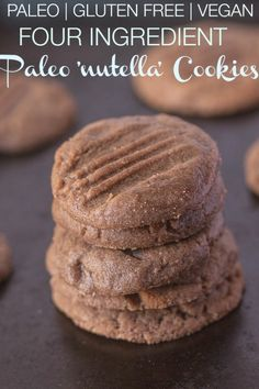 4 Ingredient Paleo 'Nutella' Cookies- A delicious #paleo friendly #cookie which requires 1 bowl and TEN minutes to whip up- The best bit? Just 4 ingredients needed