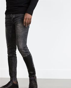 SKINNY JEANS WITH FAUX LEATHER DETAIL from Zara