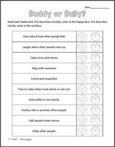 Buddy or Bully? Free printable